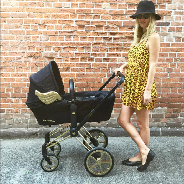 "Jeremy Scott: ""PRECIOUS CARGO!!! @nickyhilton WITH HER @itsjeremyscott FOR @cybex_global WINGED BABY STROLLER!""