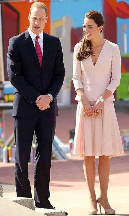 The Duchess teamed a blush pink Alexander McQueen dress with her trusty pair of nude LK Bennett pumps for a trip to the skate park in Adelaide.
