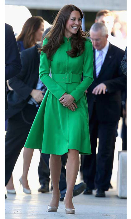 An emerald Erdem coat was chosen for a visit to a children's hospital in New Zealand.