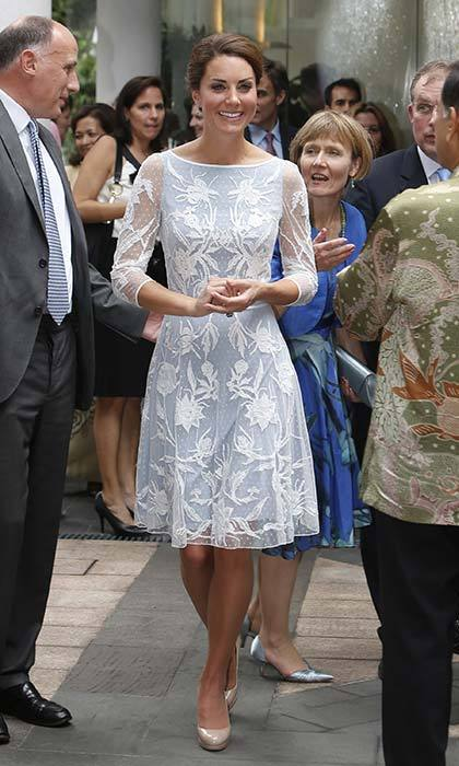 Alice Temperely's duck egg blue dress kept the Duchess cool but covered up in respect of Malaysia's customs.