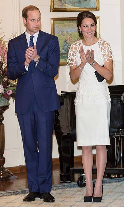For a reception at Canberra's Government House she wore a white cocktail dress by Texan designer Lela Rose.