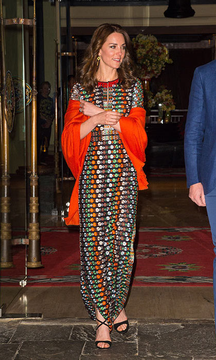 For a private dinner with the King of Bhutan, Kate kept it casual in a floaty maxidress from Tory Burch. The gown is a classic column shape and embroidered with jewel-toned flowers and beading.