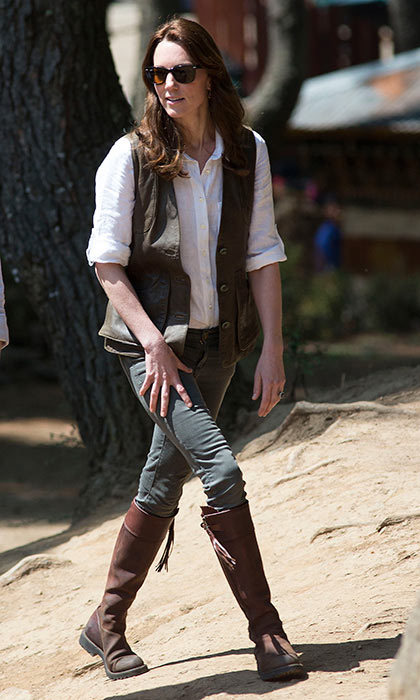<p>With a six-hour trek ahead of her Kate opted for comfortable and easy-to-wear gear. But the ever stylish Kate managed to make casual look chic as she began the gruelling hike in Bhutan.
