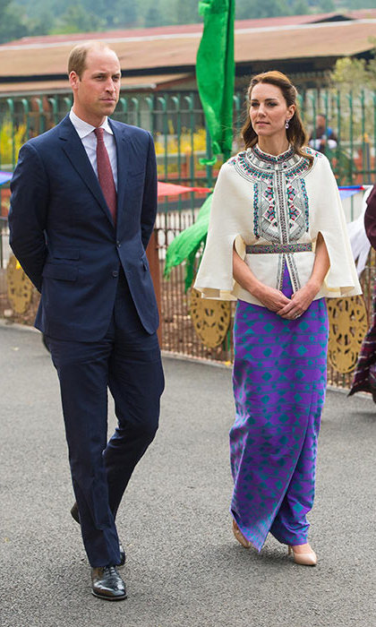 Kate attended an archery event in a Paul & Joe top paired with a skirt made from material woven and sourced in Bhutan. It was woven by local weaver Kelzan Wangmo.