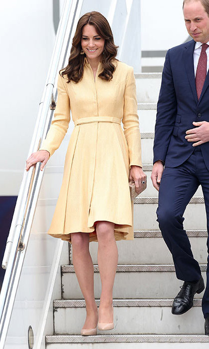 Kate turned to one of her favourite designers for her highly-anticipated arrival in Bhutan. With temperatures considerably cooler in the mountain kingdom than in India, the stylish royal stepped off the plane in a soft yellow gold coat dress by Emilia Wickstead – a go-to piece from her enviable wardrobe.