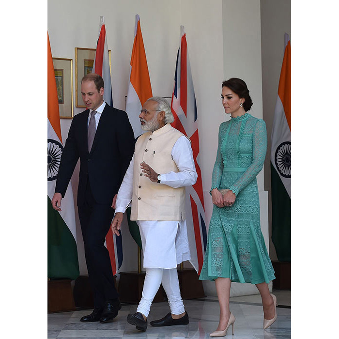 Kate hit another sartorial high as she joined her husband to meet the Indian Prime Minister Narendra Modi. The elegant royal chose a feminine but modern design in a beautiful jade green by one of her favourite designers, Alice Temperley, for the event. She completed her look with a pair of nude heels and her LK Bennett 'Natalie' straw clutch bag.