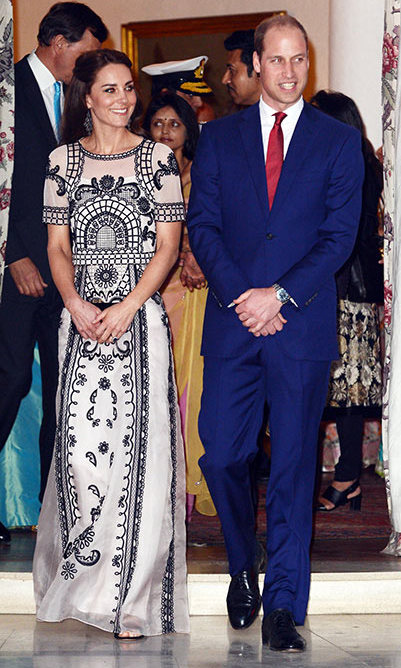 <p>Stepping out for a garden party in Delhi to celebrate the Queen's 90th birthday, Kate looked typically stylish in an Alice Temperley crop top and skirt ensemble.