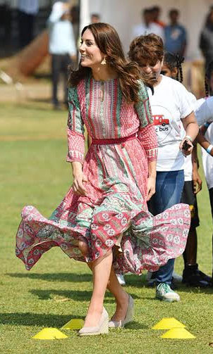 <p>Kate later slipped into a mid-length pink and green chiffon dress by Mumbai designer Anita Dongre.