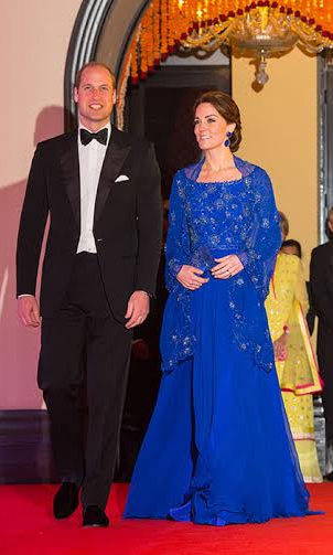 The royal gave another nod to her host country - the blue floor-length evening gown featured intricate beading that had been carried out in India.