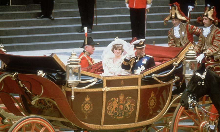 The newlyweds departed the cathedral to the refrain of Elgar's Pomp and Circumstance before taking an open-topped State landau to Buckingham Palace.
