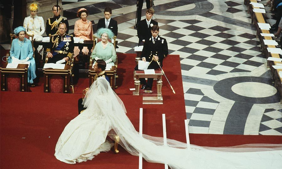 Charles and his princess were wed in front of a congregation of 3,500, which included Queen Elizabeth, Prince Philip and the Queen Mother. 