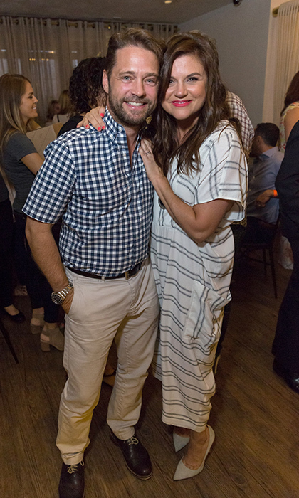 Former <i>Beverly Hills 90210</i> co-stars Jason Priestley and Tiffani Thiessen reunited at the Raising The Bar To End Parkinson's after party at Laurel Point in California. 