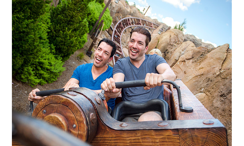 Drew and Jonathan Scott took a turn on the Seven Dwarfs Mine Train roller coaster at Walt Disney World. 