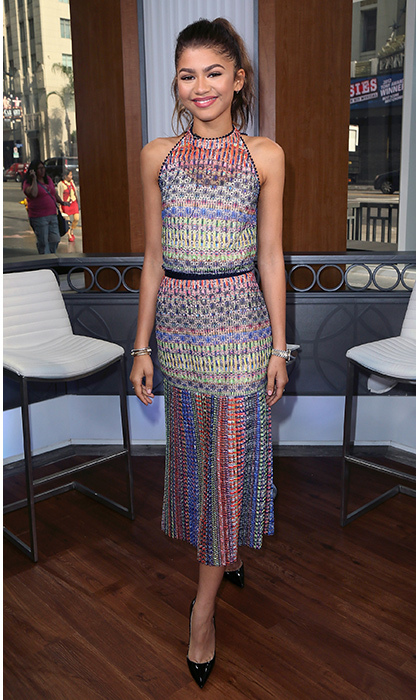 Actress Zendaya made a colourful appearance while promoting her new shoe collection Daya by Zendaya in Hollywood. 