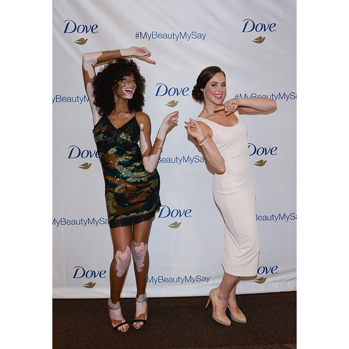 Model Winnie Harlow and Olympic gold medal ice dancer Tessa Virtue teamed up with Dove to promote positive body image and self confidence at the Pantages Hotel in Toronto.