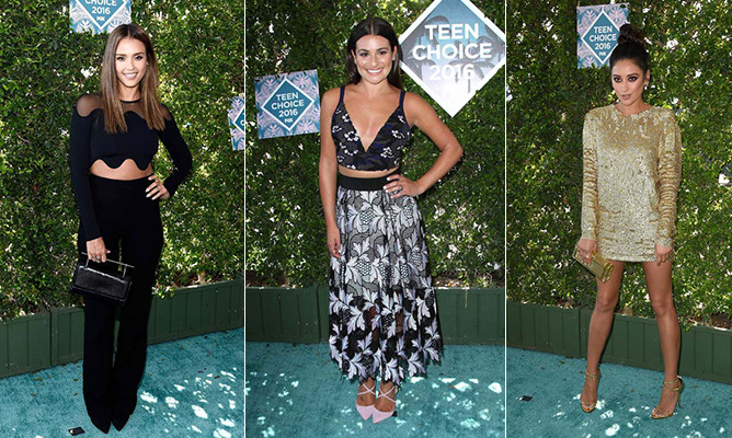 We've rounded up the most stylish stars at the 2016 Teen Choice Awards, from Jessica Alba to Lea Michele and Shay Mitchell. Click through the gallery to see them all...