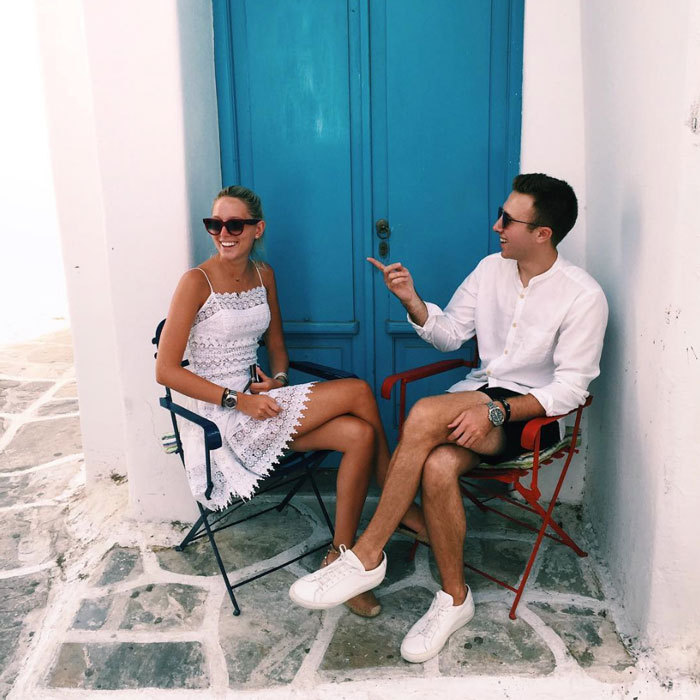 Maria-Olympia looked chic wearing a little white dress and shades paired with a glowing tan, while out and about with friends on the Greek Island.