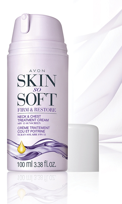 "<p><b>Avon Skin So Soft Firm and Restore Neck and Chest Treatment Cream, $16, at <a href=""http://www.avon.ca"" target=""_blank"">avon.ca</a></b></p>