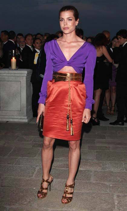 Grace Kelly's granddaughter made a bold sartorial statement in eye-popping brights at a dinner in Venice in June 2011.