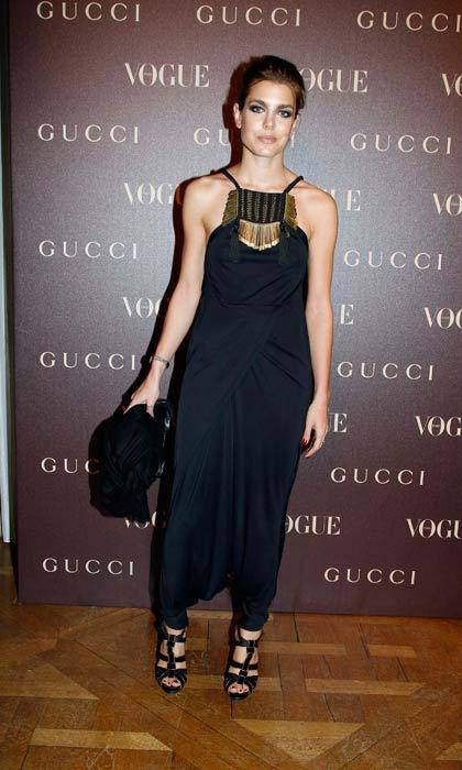 The 30-year-old wore her glossy tresses up to let her embellished Gucci jumpsuit do the talking as she attended a dinner as part of Paris Haute Couture Fashion Week in January 2011.