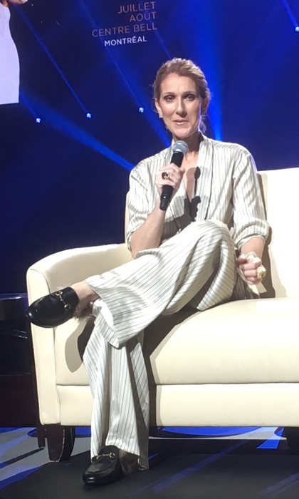 Celine wore a pyjama suit and Gucci loafers to chat with reporters after the show.