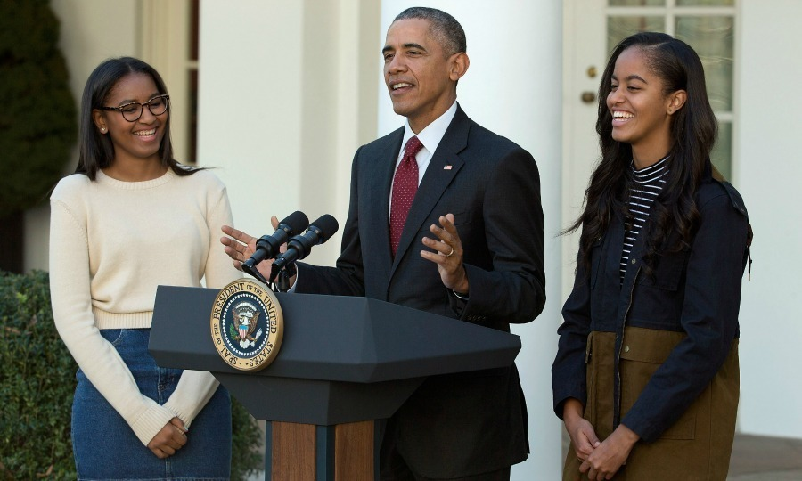 President Obama had Sasha and Malia by his side for guaranteed laughs at his jokes during the Pardoning of the Turkey ceremony in Washington, D.C.