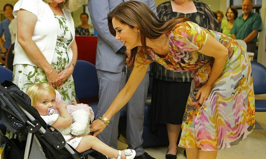 This little girl was much more interested in her stuffed animal than befriending Denmark's Crown Princess Mary at the Westmead Hospital Cancer Care Center in Sydney.
