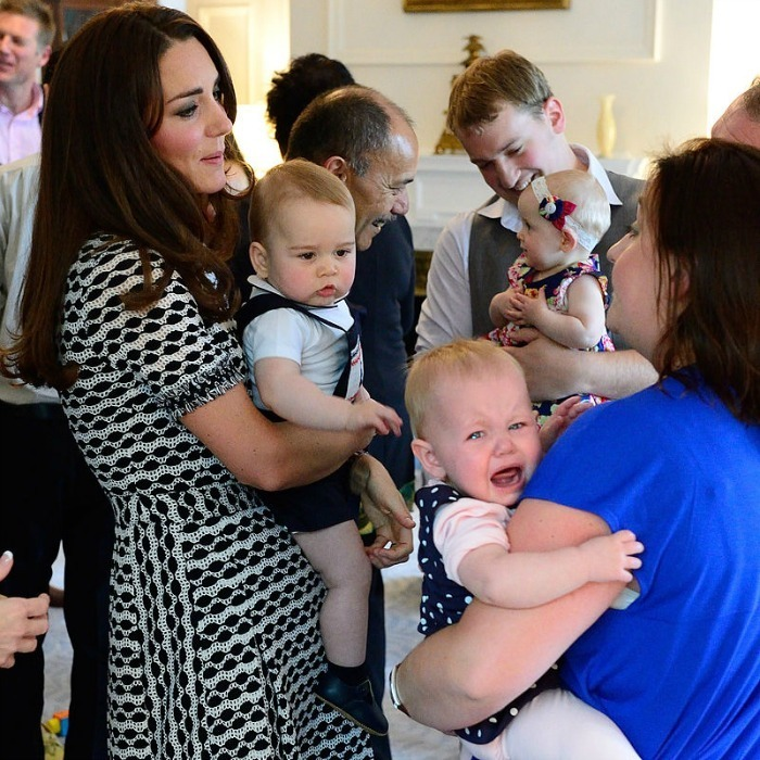 Meeting a future king can be scary! Safe to say Prince George made a lasting first impression on a fellow baby during his royal tour of Australia. 