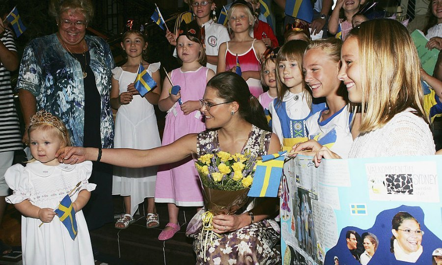 Crown Princess Victoria attempted to gain the attention of a child during a lunch in Australia. 