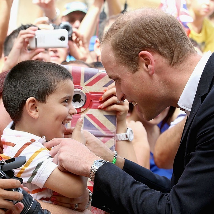 Who was more excited to meet who? Prince William exchanged smiles with a young boy while out in Vittoriosa Square during his visit to Malta in 2014.