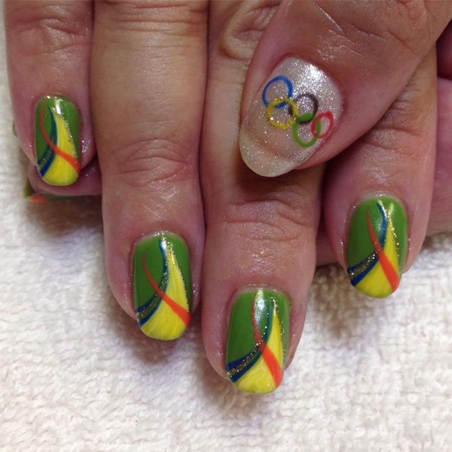 "Whether you're heading to Rio or watching the games from home, celebrate this year's games with a Brazilian-themed manicure like <a href=""https://www.instagram.com/leah_an0718/"" target=""_blank"">@leah_an0718</a>'s. 