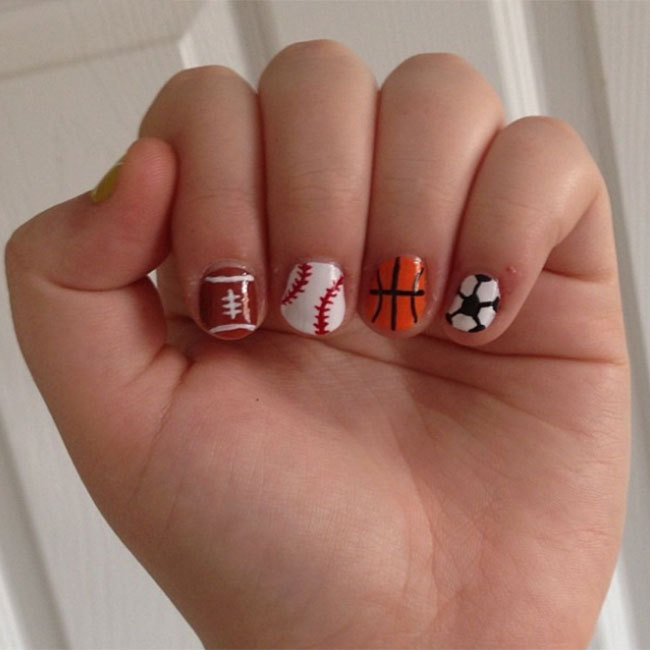 "Try sports ball-patterned designs like <a href=""https://www.instagram.com/nataliemyhill/"" target=""_blank"">@nataliemyhill</a> for a quirky tribute to the competition. 