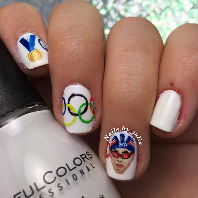 "Have you got a favourite athlete? Try a quirky nail art tribute like the one <a href=""https://www.instagram.com/nails.by_julia/"" target=""_blank"">@nails.by_julia</a> did in honour of Michael Phelps! 