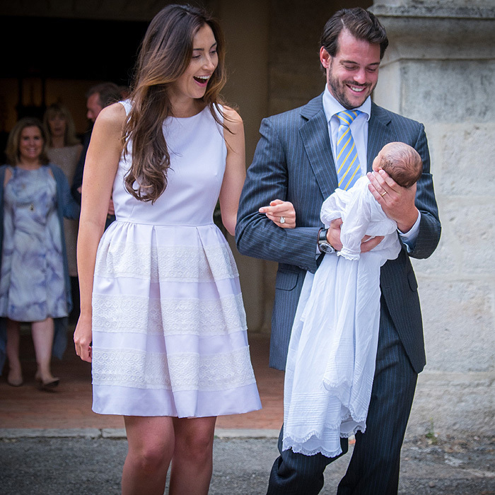 <p>The couple are full of joy as they leave the Saint Ferreol Chapel in Lorgues, France on July 12, 2014 after baptising their baby girl.