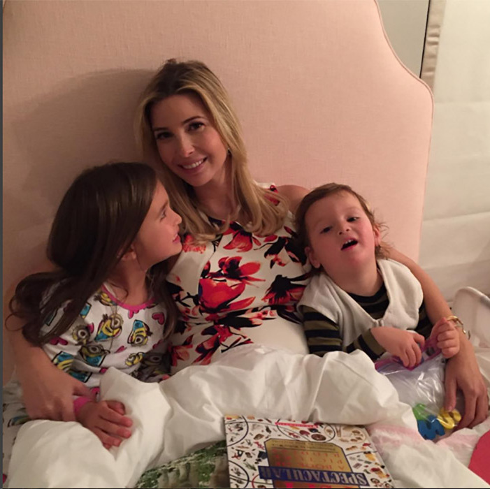 Although Ivanka has a busy schedule, she still finds time to get in some pre-bedtime snuggles with Arabella and Joseph.