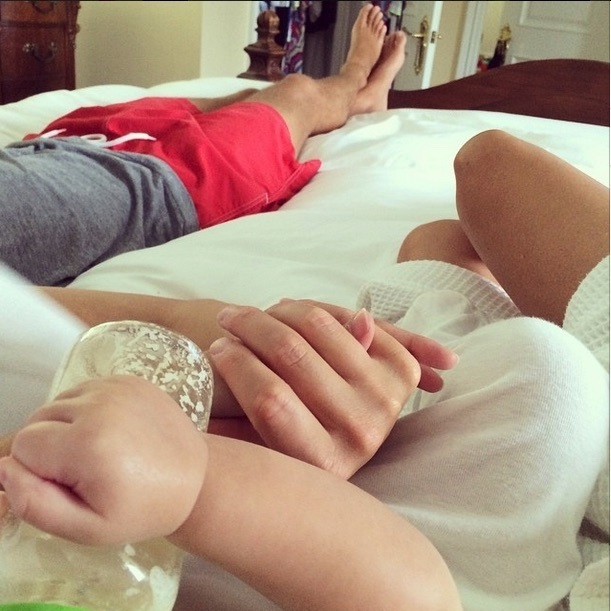 Ivanka enjoyed a lazy weekend in bed with Jared and Joseph and some baseball.