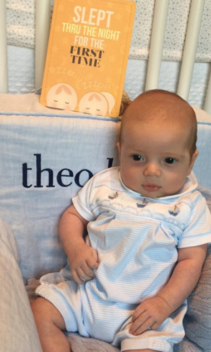 "Theodore Kushner's latest milestone was a win-win for him and his mother. Ivanka celebrated her baby boy finally sleeping through an entire night with a photo of him seated in front of a card that read: ""SLEPT THRU THE NIGHT FOR THE FIRST TIME."" Attached to the snap, Donald Trump's daughter wrote, ""Last night was major for Theodore and me. #BigStuff #Milestones.""