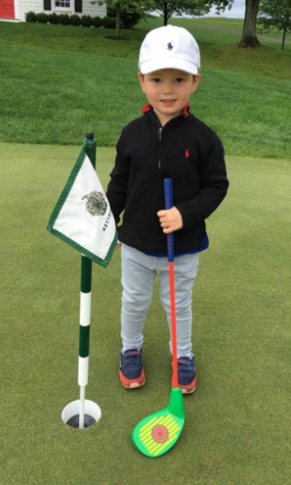 Tee time! Joseph is already following in the footsteps of his avid-golfer grandfather, Donald Trump. The adorable tot sported his golf attire for a kid-friendly session at the Trump National Golf Club in Bedminster, NJ.