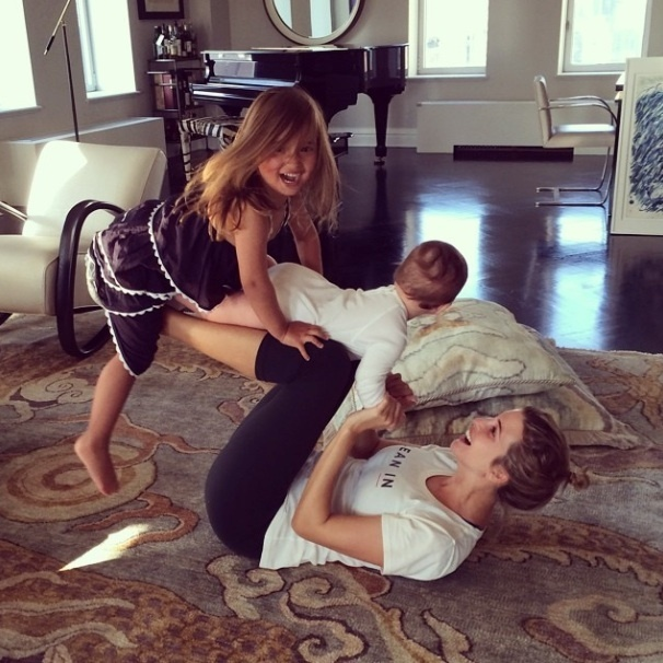 Ivanka found some time to multi-task with little Joseph and Arabella.