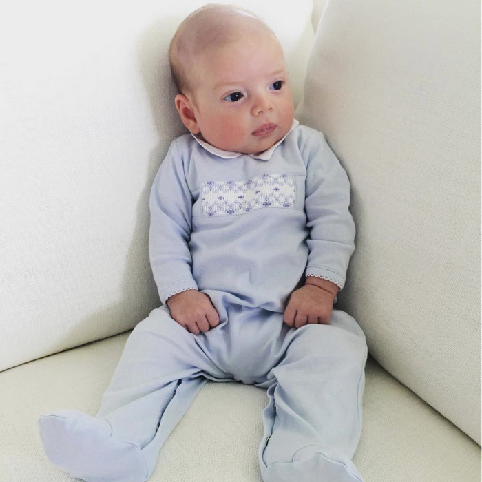 "So alert! The doting mom uploaded a photo of her youngest son sitting up attentively on a white couch. Ivanka captioned the post, ""Little Theodore.""