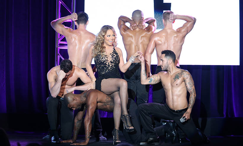 Mariah Carey put on a show at a press conference for her new reality show <i>Mariah's World</i>.