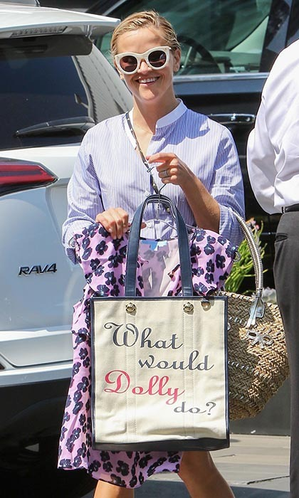 Southern belle Reese Witherspoon let her love for Dolly Parton shine during a shopping outing in Los Angeles. 