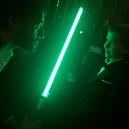 "The force is strong with these two. Self-proclaimed <i>Star Wars</i> fan Jacob met one of the stars from the franchise's latest instalment, Oscar Isaac, at a Golden Globes after-party. Earlier in the day, the young actor told <i>E! News</i> that his favourite character from the <i>Force Awakens</i> was Poe Dameron, played by Isaac and that he thought the movie was ""awesome.""