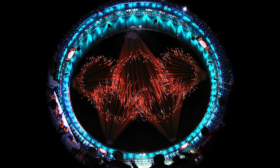 The five interlocking rings were shown in a spectacular firework display. 
