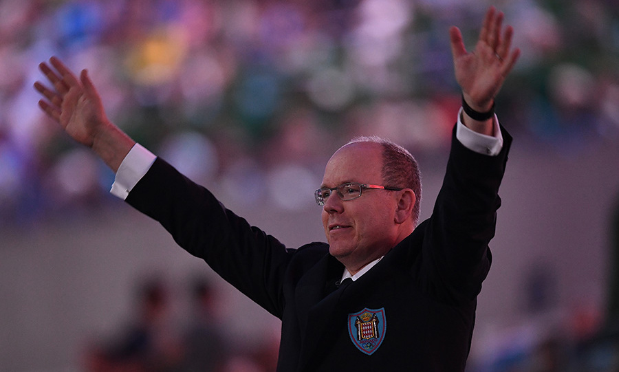 Prince Albert II of Monaco was caught up in the excitement of the opening ceremony.<br> 