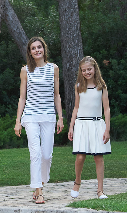Queen Letizia with her daughter Princess Leonor.<br>