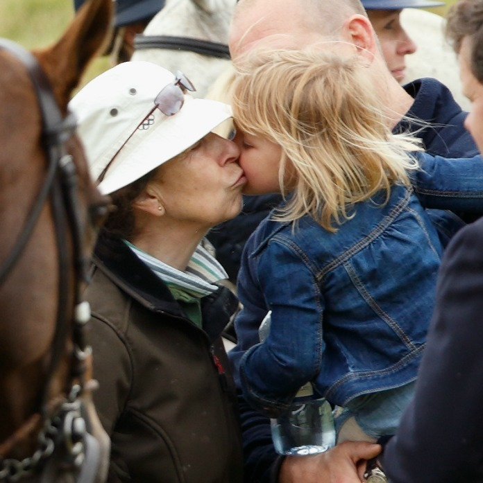 Mia got a kiss from her grandmother Princess Anne during Gloucestershire Festival of Polo.
