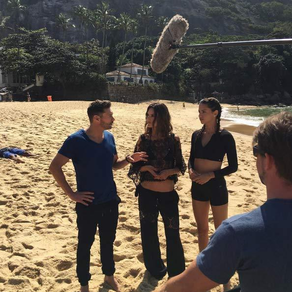 <p>The trio have been filming Olympics coverage for NBC on the beach at Rio.
