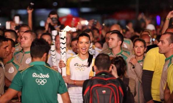 <p>Adriana was also given the honour of carrying the Olympic torch through Rio before the games began.