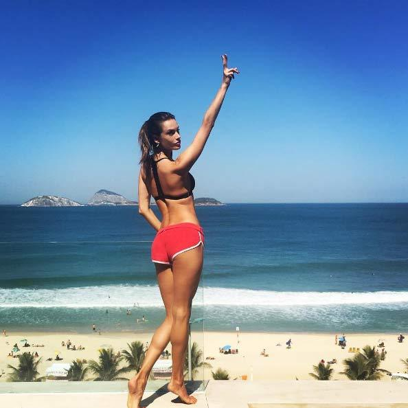 The 35-year-old has been taking advantage of Brazil's enviably warm winter climate by soaking up the sun on Ipanema beach during her downtime.